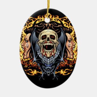 Skulls, Vampires and Bats Gothic Design by Al Rio Ceramic Ornament
