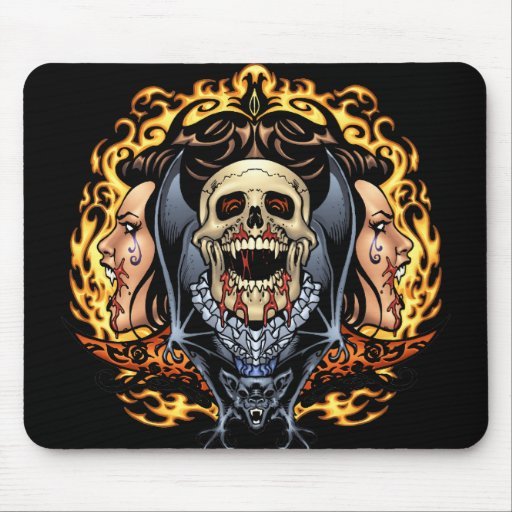 Skulls, Vampires and Bats Gothic Design by Al Rio Mouse Pads