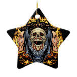 Skulls, Vampires and Bats Gothic Design by Al Rio Double-Sided Star Ceramic Christmas Ornament