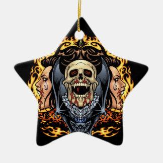 Skulls Vampires and Bats Gothic Design by Al Rio Christmas Tree Ornament