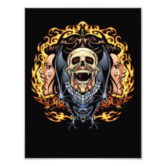 Skulls, Vampires and Bats Gothic Design by Al Rio Photo Print