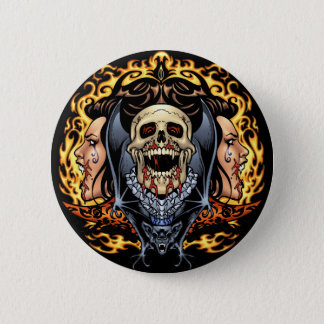 Skulls, Vampires and Bats Gothic Design by Al Rio Pinback Button