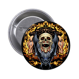 Skulls, Vampires and Bats Gothic Design by Al Rio Pinback Button