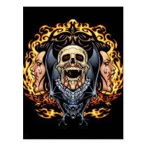 gothic,, skull,, skulls,, vampire,, vampires,, bat,, fire,, blood,, al rio, Cartão postal com design gráfico personalizado