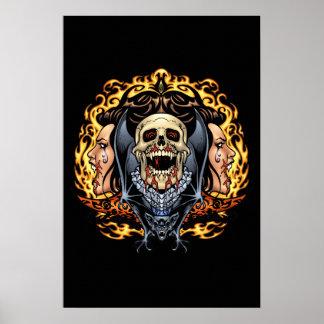 Skulls, Vampires and Bats Gothic Design by Al Rio Poster