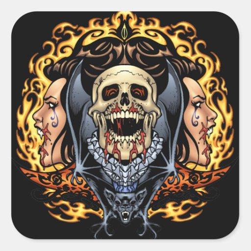 Skulls, Vampires and Bats Gothic Design by Al Rio Square Sticker