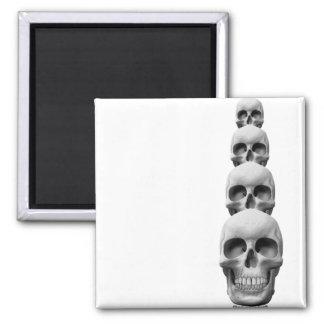 Skulls - Vertical 2 Inch Square Magnet