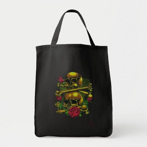 Skulls, Webs, and Roses Canvas Bag