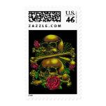 Skulls, Webs, and Roses Postage Stamp
