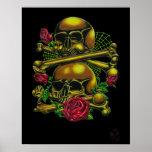 Skulls, Webs, and Roses Print