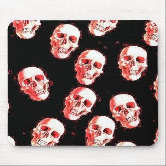 skulls, white red mouse pad