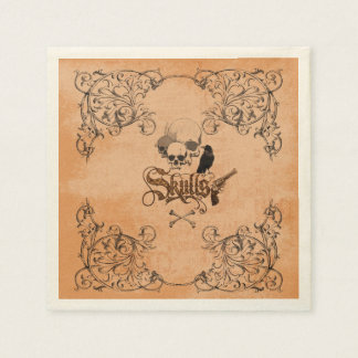 Skulls with crow and decorative floral elements napkin