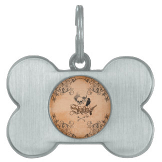 Skulls with crow and decorative floral elements pet name tag