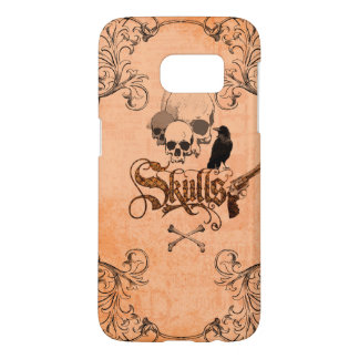 Skulls with crow and decorative floral elements samsung galaxy s7 case