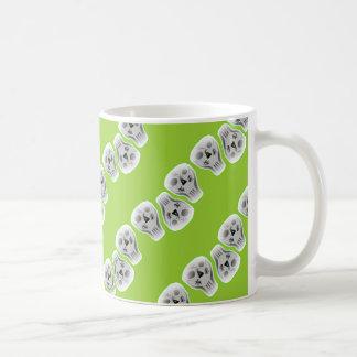 Skulls with green coffee mug