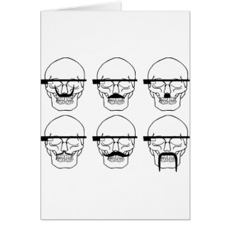 skulls with mustache and OK Glass Card