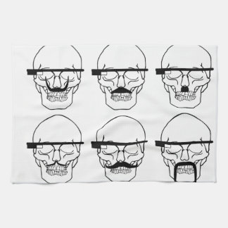skulls with mustache and OK Glass Kitchen Towel