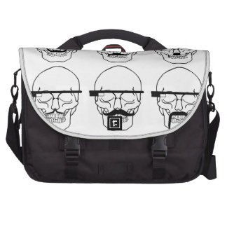 skulls with mustache and OK Glass Laptop Bag