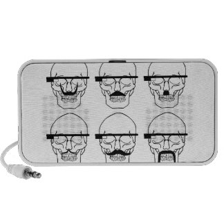 skulls with mustache and OK Glass Mp3 Speakers