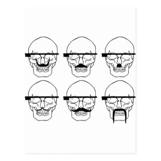 skulls with mustache and OK Glass Post Card