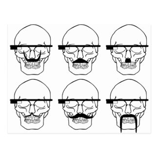 skulls with mustache and OK Glass Post Cards