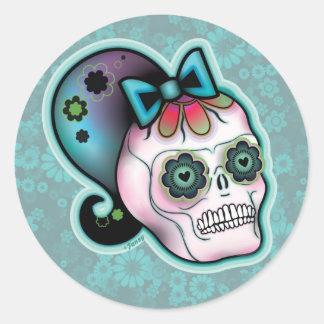Skulls with Ponytails Round Sticker 2