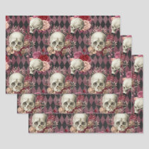 Skulls with Roses and Pink Purple Checkered Wrapping Paper Sheets