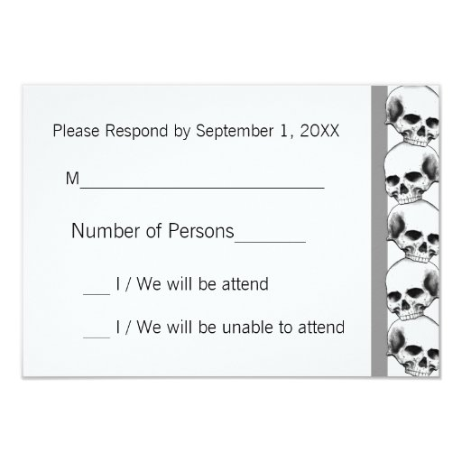 Skulls with Stripe(Grey) RSVP Card Custom Invitation