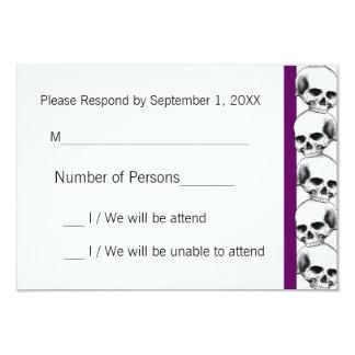 Skulls with Stripe(Purple) RSVP Card Invitation