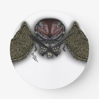skullwings round clock