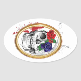 Skully 1 with Roses Oval Sticker