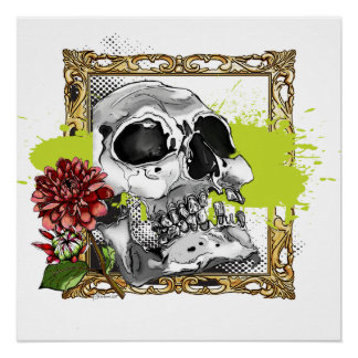 Skully 4 with Dahlias Poster