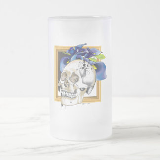 Skully 5 with Calla Lily Frosted Glass Beer Mug
