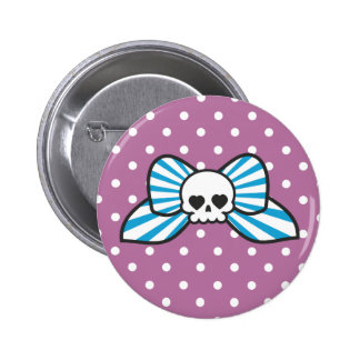 Skully Bow 2 Inch Round Button