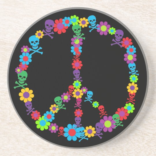 Skully Flower Power Peace Coaster
