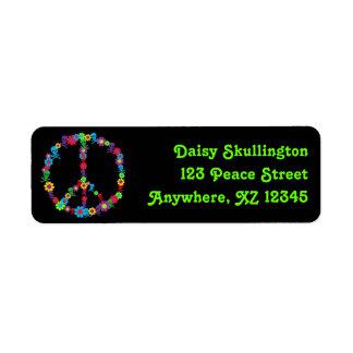 Skully Flower Power Peace Return Address Labels