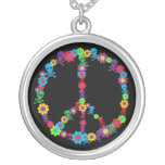 Skully Flower Power Peace Round Pendant Necklace