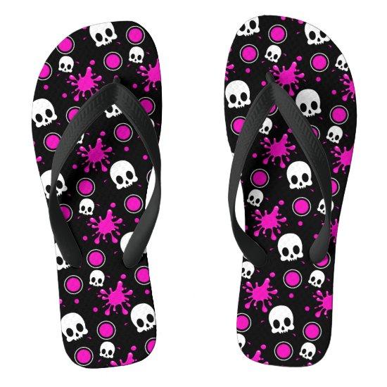 Skully (Hot Pink) Flip Flops