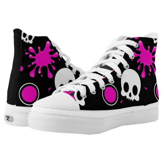 Skully (Hot Pink) High-Top Sneakers
