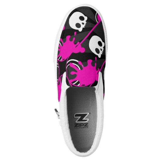 Skully (Hot Pink) Slip-On Sneakers