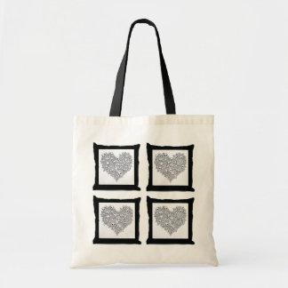 Skully II - Skull Heart Budget Tote Bag
