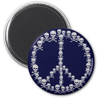 Skully Peace Sign 2 Inch Round Magnet