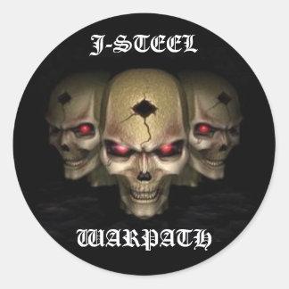 skullz24jr, J-STEEL, WARPATH Pegatina Redonda