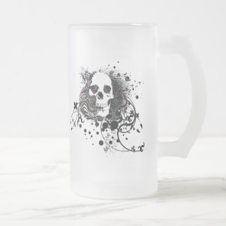 skullz. straight twisted arrows. frosted glass beer mug