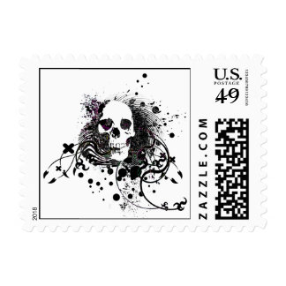 skullz. straight twisted arrows. postage stamp