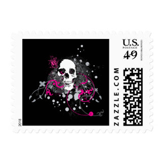 skullz. straight twisted arrows. postage stamps