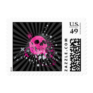 skullz. up with bubbles. postage stamp