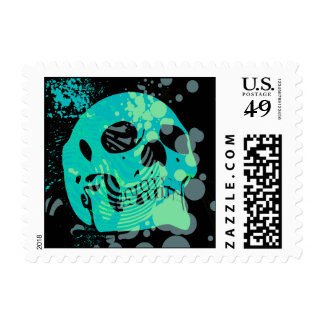 skullz. up with bubbles. postage stamps