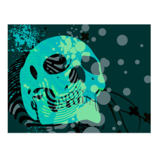 skullz. up with bubbles. postcard