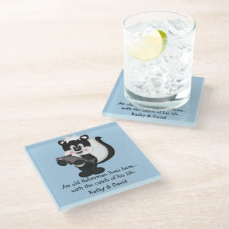 Skunk and Fish Glass Coaster